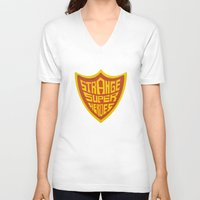 super heroes V-neck T-shirts featuring STRANGE SUPER HEROES by yhello designer