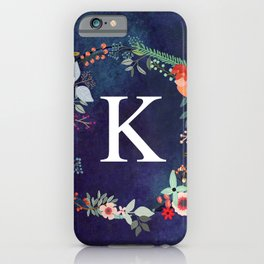 Personalized Monogram Initial Letter K Floral Wreath Artwork iPhone Case