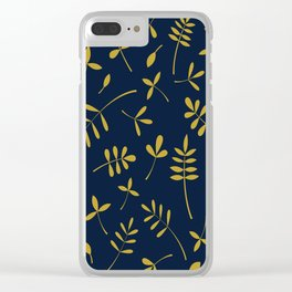 Gold Leaves Design on Dark Blue Clear iPhone Case