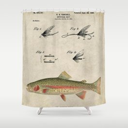 Vintage Rainbow Trout Fly Fishing Lure Patent Game Fish Identification Chart Shower Curtain