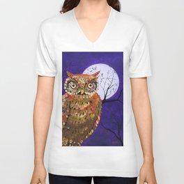 Owl, Owl Painting, Moon, Night Sky, Purple, by Faye Unisex V-Neck