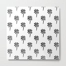 Palm Tree linocut minimal tropical black and white decor Metal Print