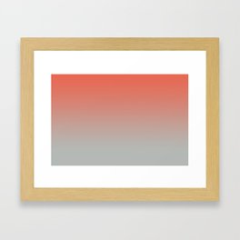 Pantone Living Coral & Storm Gray Gradient Ombre Blend Framed Art Print