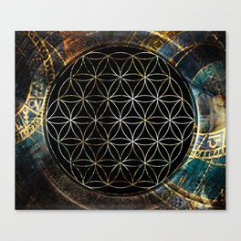 Flower of Life and Zodiac in Cosmic Space Canvas Print