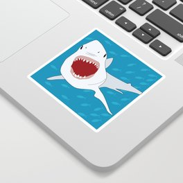 Shark Attack Underwater With Fish Swimming In The Background Sticker
