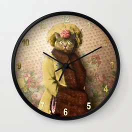 Lady Vanderkat with Roses Wall Clock