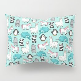 Narwhal,Unicorn, Panda, Llama, Penguin, Hippo, Animal Print For Girls Pillow Sham