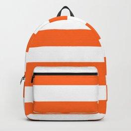 Red-orange (Crayola) - solid color - white stripes pattern Backpack