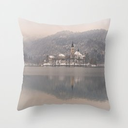 Bled Island On A Wintry Day Throw Pillow
