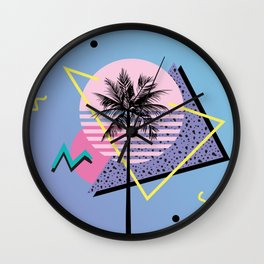 Memphis pattern 46 - 80s / 90s Retro / Palm Tree Wall Clock
