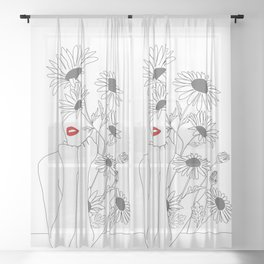 Minimal Line Art Girl with Sunflowers Sheer Curtain