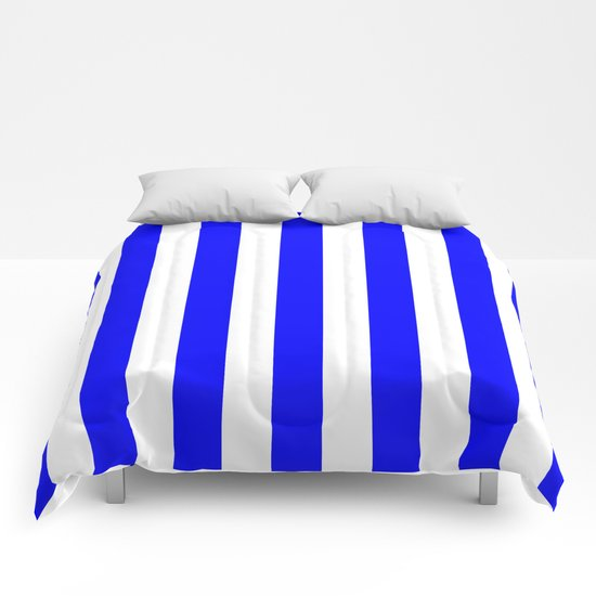 Vertical Stripes (Blue/White) Comforters