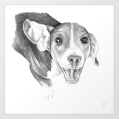A Story To Tell :: A Beagle Puppy Art Print