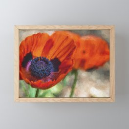 Two Poppies Painterly Framed Mini Art Print