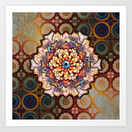 Flower In An Exotic Pattern Over Gold Rings Art Print