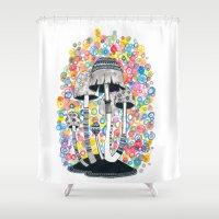 mushrooms Shower Curtains featuring Mushrooms by Asja Boros