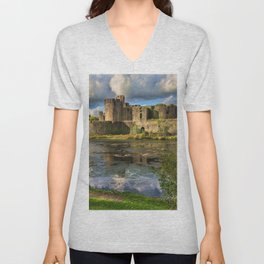 Caerphilly Castle Moat Unisex V-Neck