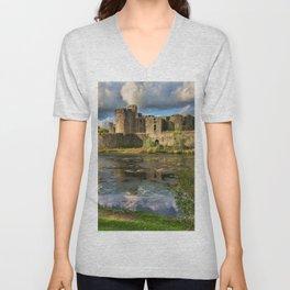 Caerphilly Castle Moat Unisex V-Neck