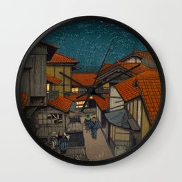 Vintage Japanese Woodblock Print Village At Night Feudal Japan Wall Clock