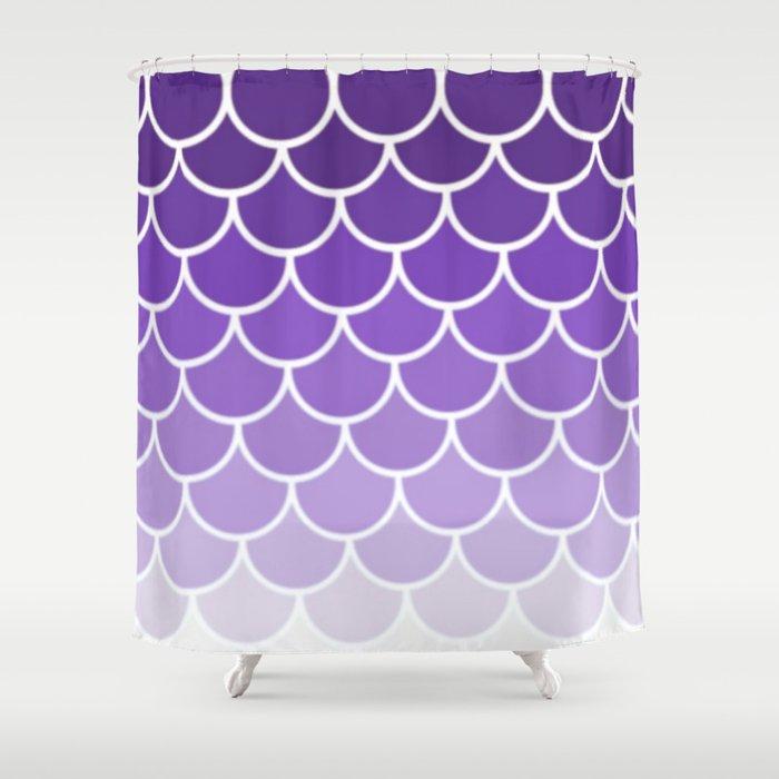 Ombre Fish Scale In Grape Shower Curtain