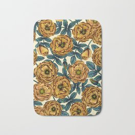 Golden Yellow Roses - A Vintage-Inspired Floral/Botanical Pattern Bath Mat