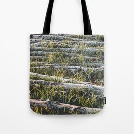 Logs in Grass Tote Bag