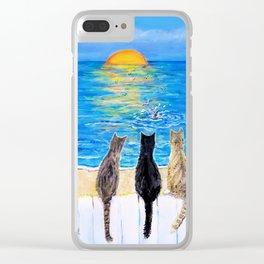 Cat Beach Sunset 2 Clear iPhone Case