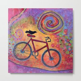 Just Ride and Fly Bicycle and Raven Metal Print