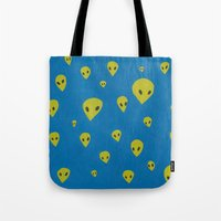 aliens Tote Bags featuring aliens by demii whiffin