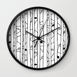 Into the Woods black on white Wall Clock