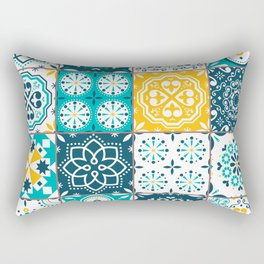 Tile Pattern Teal Yellow Rectangular Pillow