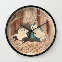 snorlax Wall Clocks featuring Best Friends Forevah by Najmah Salam