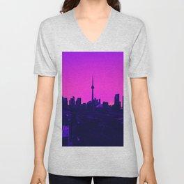 Vaporwave City Unisex V-Neck