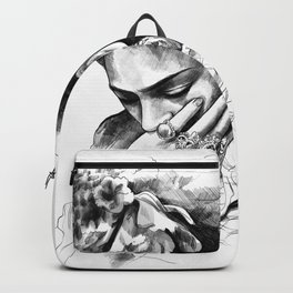 Frida Kahlo - pencil portrait Backpack