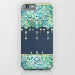 Art Deco Double Drop in Blues and Greens iPhone Case