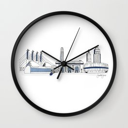 Kansas City Skyline Illustration in Sporting KC Colors Wall Clock