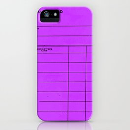 Library Card BSS 28 Purple iPhone Case