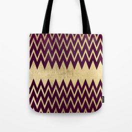 Glam faux gold burgundy watercolor chevron geometrical Tote Bag