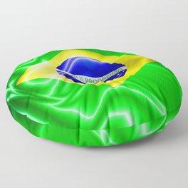 Brazil Flag Waving Silk Fabric Floor Pillow