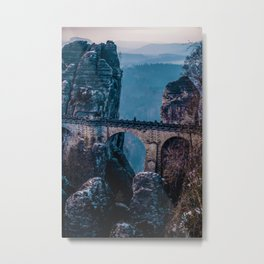 Mountain Waterfall Bridge (Color) Metal Print
