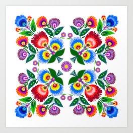 folk flowers square Art Print