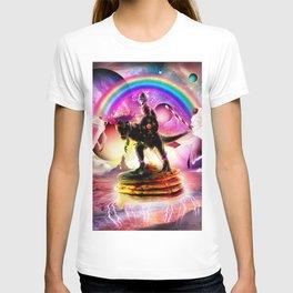 Cat Riding Dinosaur With Pancakes And Milkshake T-shirt