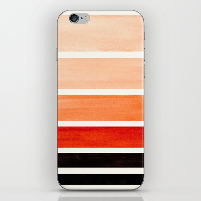 Brown Minimalist Watercolor Mid Century Staggered Stripes Rothko Color Block Geometric Art iPhone Skin