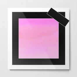 pink square with black bow Metal Print