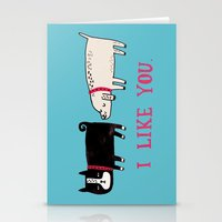 card Stationery Cards featuring I Like You. by gemma correll