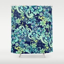 Fresh Mint and Navy Doodle Shower Curtain