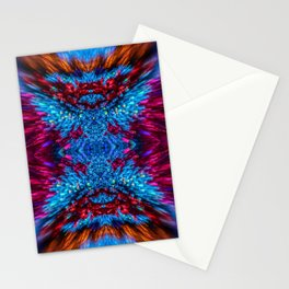 Blue and Magenta Light Refraction Patterns Stationery Cards