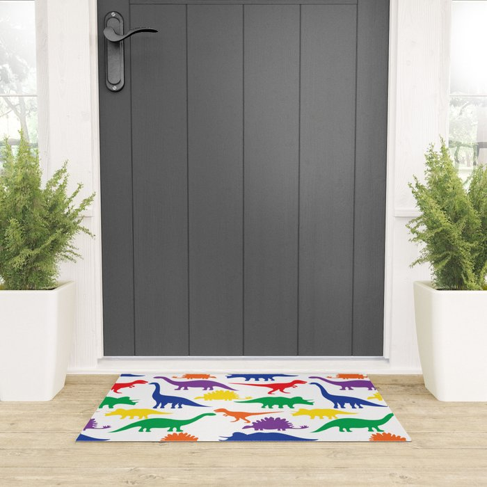 Dinosaurs - White Welcome Mat