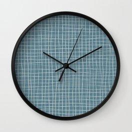 Grey threads on teal Wall Clock