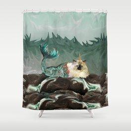 Behold the Mythical Merkitticorn - Mermaid Kitty Cat Unicorn Shower Curtain